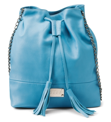 Medium cornflower blue leather drawstring bucket purse $250 by Lia Walker